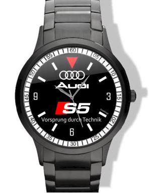 Audi S Logo Black Steel Watch - Audi watch