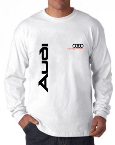 audi long sleeve t shirt white. Black Bedroom Furniture Sets. Home Design Ideas