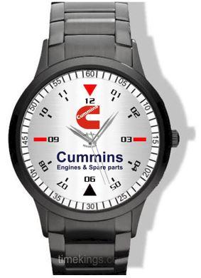 cummins engines logo black steel watch