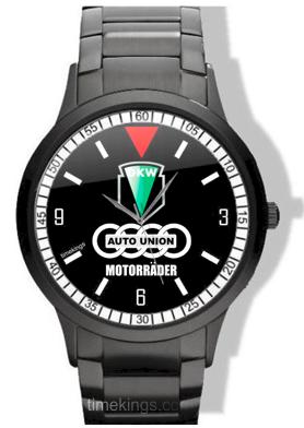 Dkw Auto Union Logo Black Steel Watch