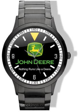 John Deere Black Stainless Steel Watch