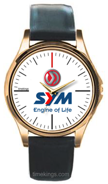 SYM Motorcycles Logo Gold-Leather Watch