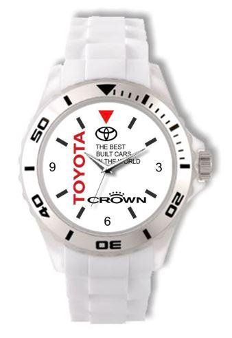 Toyota Crown Majesta Logo White Silicone Watch